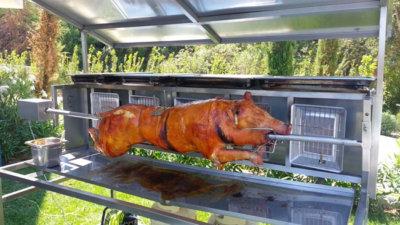 rôtissoire méchoui cochon de lait inox radiant gaz pour 100 personnes